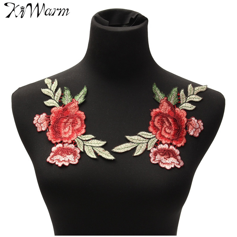 2Pcs/set Rose Flower Floral Collar Sew on Patch Cute Applique Badge Embroidered Fabric Sticker Bust Dress Garment Accessories