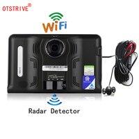 Otstrive 7 дюймов gps навигации DVR Android gps Wi Fi Интернет заднего вида Камера AVIN Антирадары 16 ГБ автомобиля gps Бесплатная карта