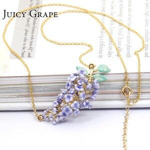 Image 5 - Juicy Grape Handmade Enamel Glaze Necklace Gilded Fresh Lavender Flower Necklace For Women Fashion Jewelry Bijoux Girl Gifts