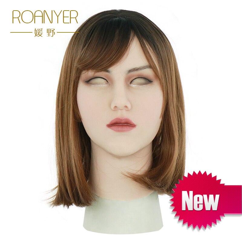Roanyer silicone masque peau réaliste artificielle peut masque latex sexy cosplay pour crossdresser transgenre mâle transexuelle glisser la reine