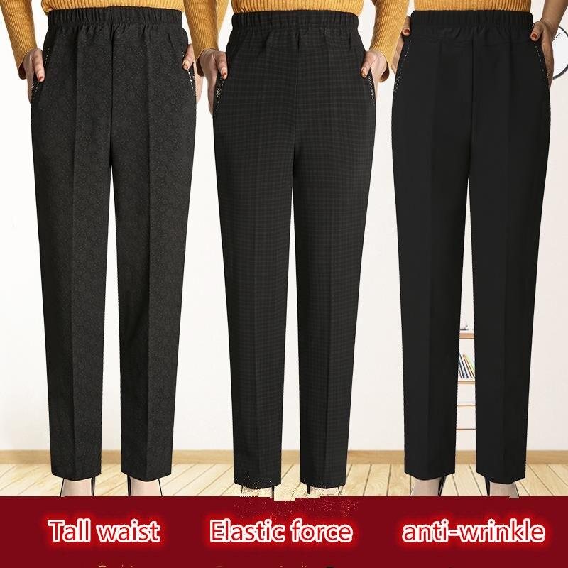 Nova moda feminina calças compridas mãe cintura alta roupas de inverno calças casuais plus size legging calças de cintura elástica M-5XL