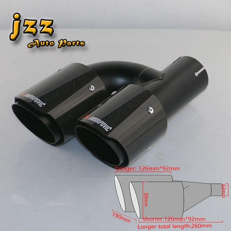JZZ akrapovic выхлопных совет глушитель насадки для качество автомобилей глушитель углеродного стекловолокна с двумя выходами тихий звук насадка бомба