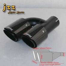 JZZ akrapovic car exhaust tip muffler attachments for car silencer quality carbon fibreglass dual outlet quiet sound bomb nozzle
