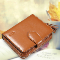 Hot Sale 2015 Brand Designer Women Wallet Bags Cow Split Leather Button Clutch Short Purse Lady