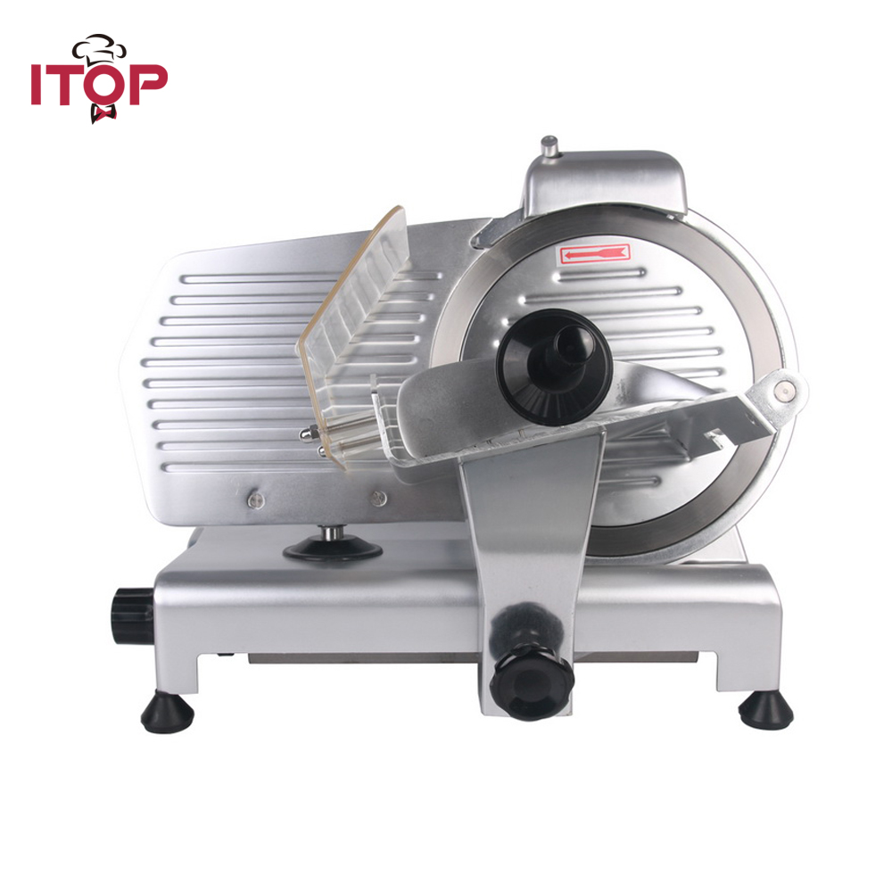 ITOP 10 Blade Electric Frozen Meat Slicer Cutter Home Kitchen HEAVY DUTY Commercial Semi-Automatic Meat Cutting Machine blade for meat cutting machine food processors with blade knife for commercial or home use qw