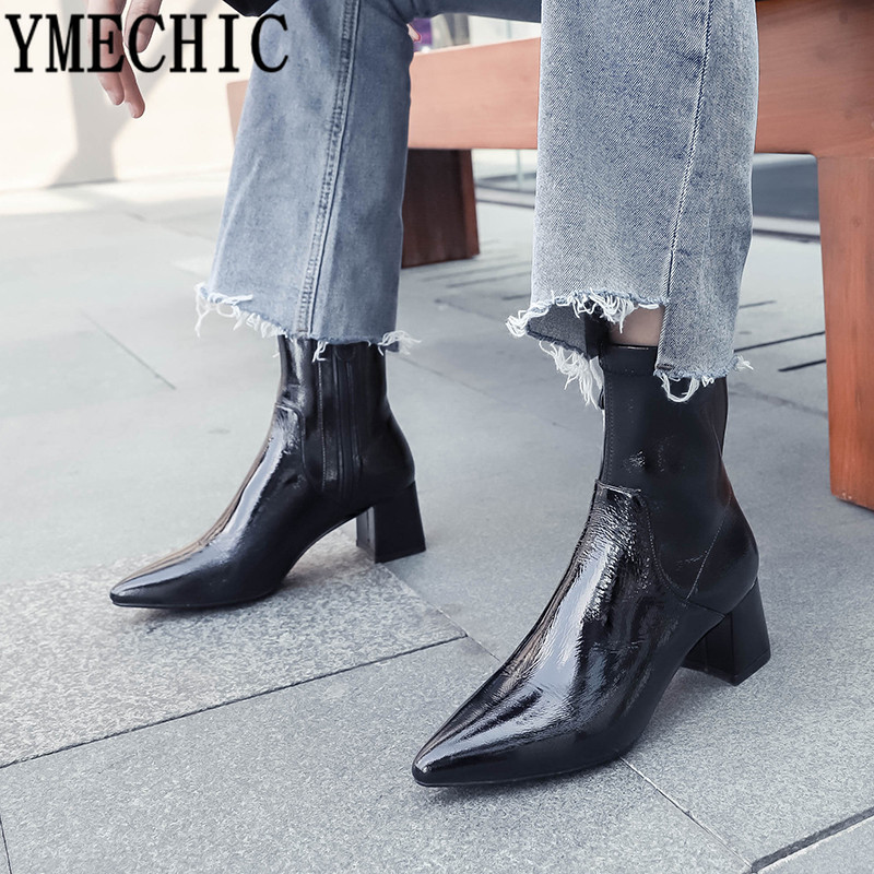 YMECHIC 2018 Winter Wrinkle Patent Leather Pointed Toe Fashion High Heels Ankle Boots Women Black Genuine Leather Ladies Shoes-in Ankle Boots from Shoes    1