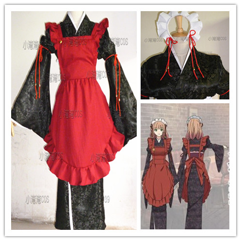 Top Quality AMNESIA Heroine Cosplay Costume kimono with apron and hair accessory
