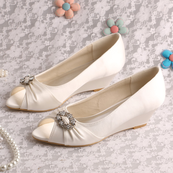 20 Colors Wedopus Custom Made Peep Toe Pumps Wedge Heel Wedding Shoes Off- white Satin 991cfa6aa448