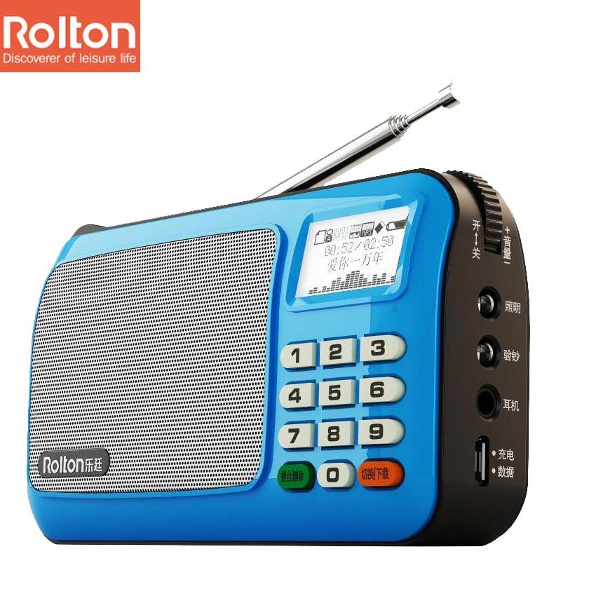 Rolton W505 Mini Portable Speaker Box Support TF Card MP3 WAM WAV FM Radio Earphones Flashlight LED Light Record Sounds Column