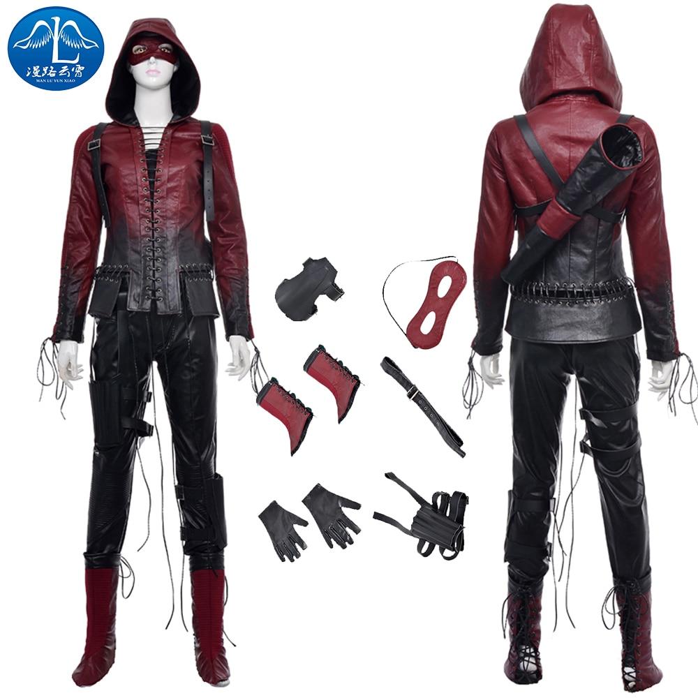 ManLuYunXiao Green Arrow Cosplay Red Arrow Thea Quinn Cosplay Costume Red Arrow Cosplay Full Suit Women's Basic Coats Eye Mask
