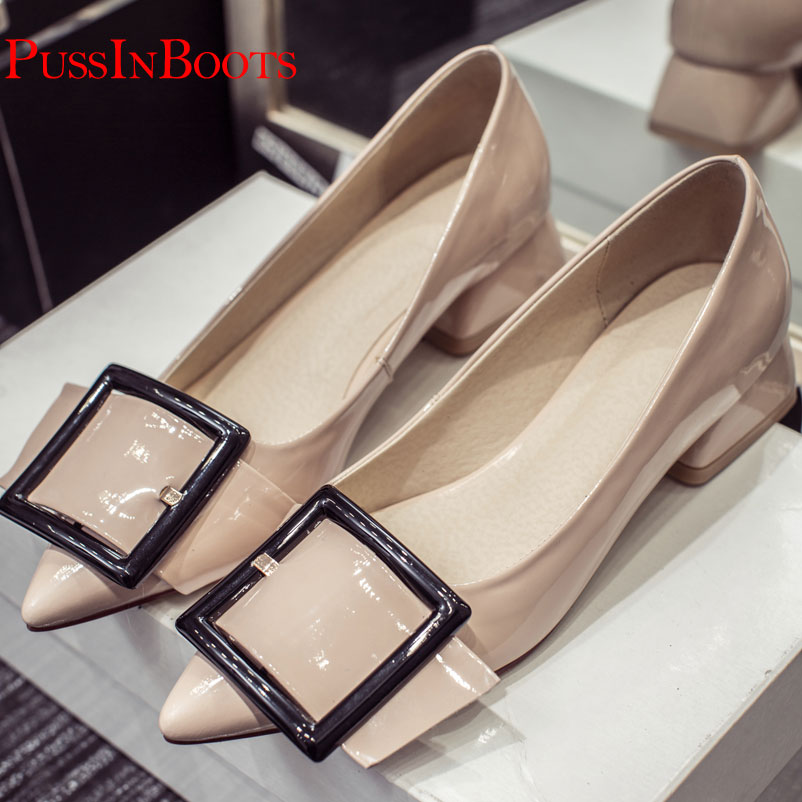 ФОТО New Arrival Women Low Heels Shoes Pointe Toe Buckle Pumps Office Lady Shoes Patent Leather Nude Pumps For Women