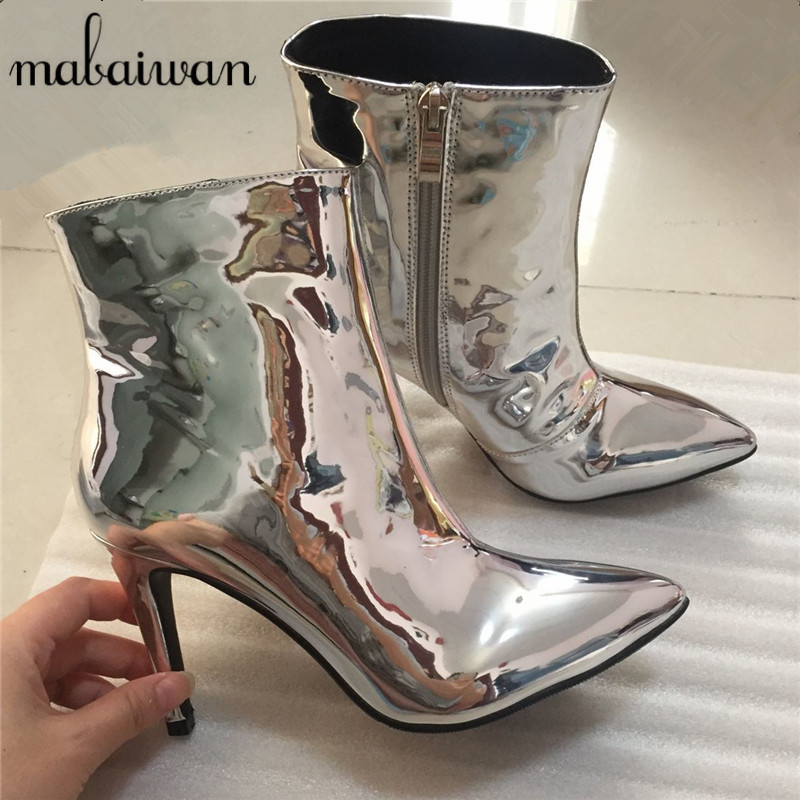 Silver Women Ankle Boots Pointed Toe High Heels Mirror Patent Leather Women Pumps Metallic Fashion Stiletto Short Botas Mujer