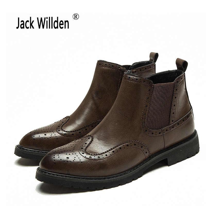 Jack Willden İlkbahar/Kış erkek Chelsea Çizme İngiliz Tarzı Moda Martin Çizmeler Nubuk Deri yarım çizmeler rahat ayakkabılar