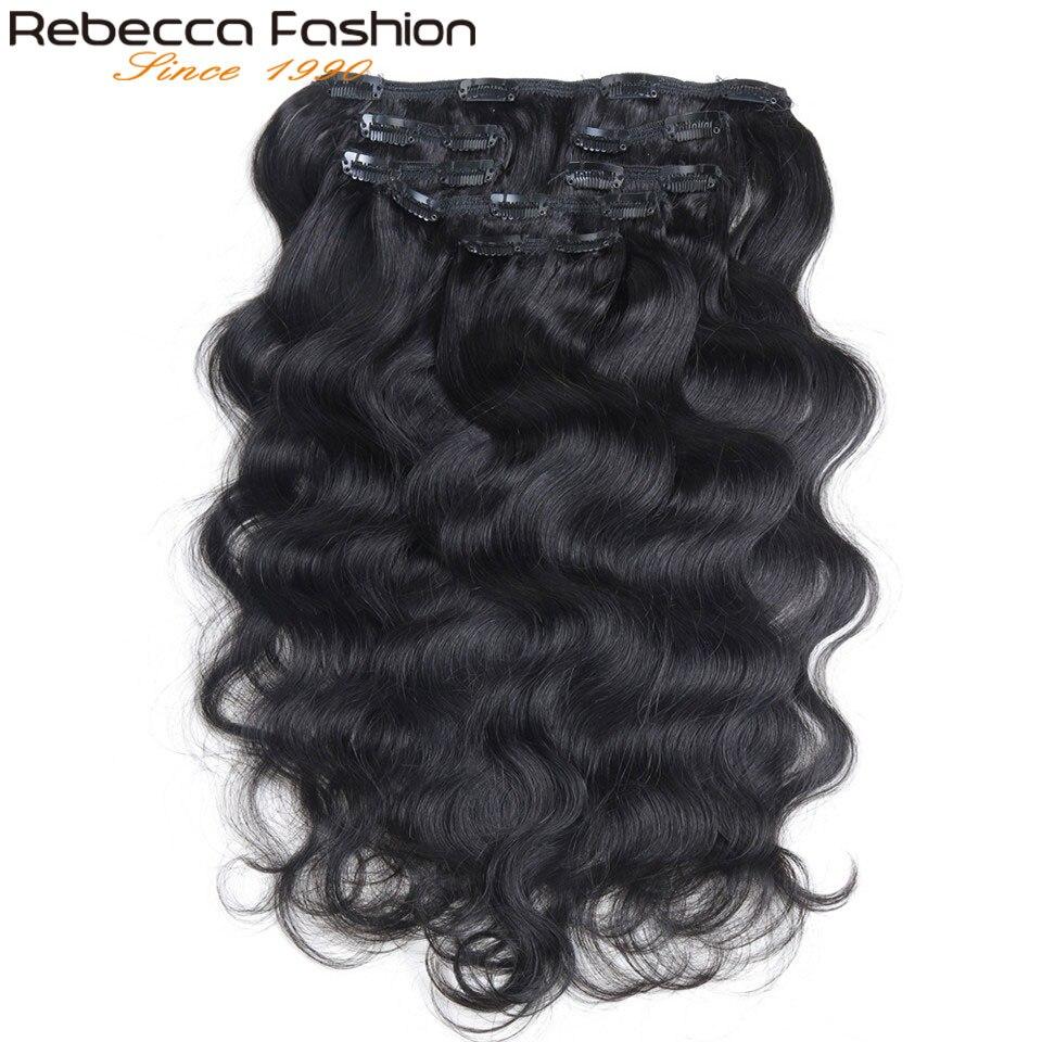 Rebecca 7 Pcs Em Extensões Do Cabelo Humano da Onda Do Corpo Do Cabelo Remy Grampo de Cabelo Cor # 1B Cabeça Cheia 7 pçs/set cabelo Remy Tece