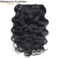 Rebecca Hair 7Pcs In Human Hair Extensions Body Wave Remy Hair Clip Color#1B Full Head 7Pcs/Set Remy Hair Weaves