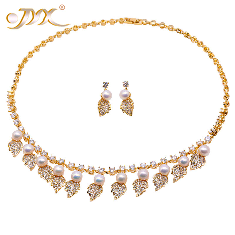 JYX Pearl Jewelry Set 7-7.5mm White Flat Round Freshwater Pearl Necklace & Earrings Set 17.5 jyx pearl wedding jewelry set 7 7 5mm white flat round freshwater pearl necklace