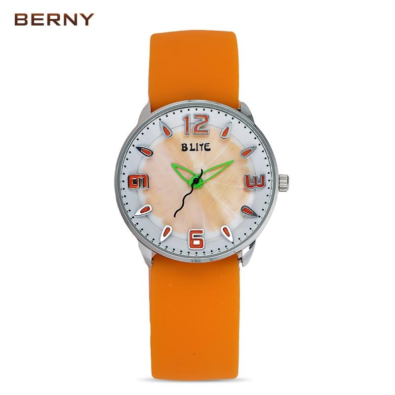 BERNY Children Silicone Belt Waterproof Quartz Sports Watches for Kids Girl Watch Analog Hands Clock Child Pink Red Watch 4117