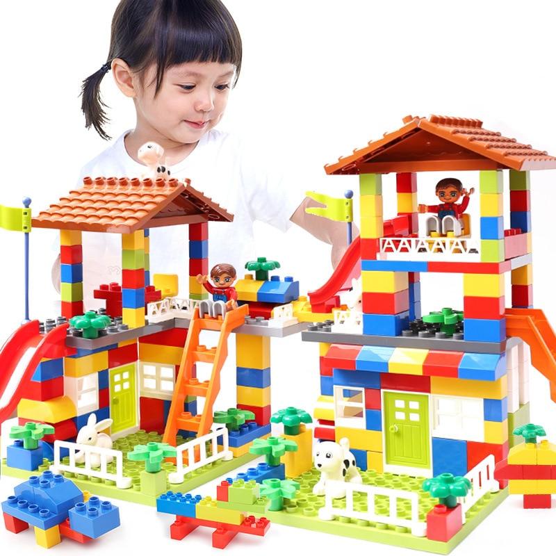 Colores bricolaje Casa de la ciudad techo partículas grandes bloques de construcción Castillo juguete educativo para los niños Compatible LegoINGlys duplo diapositiva
