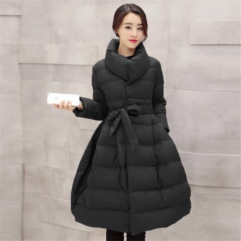 Winter Long Quilted Jacket Women 2019 New Girls Cotton Padded Slim Stand Collar Warm   Parkas   Belted Coat Female Outerwear XH1098