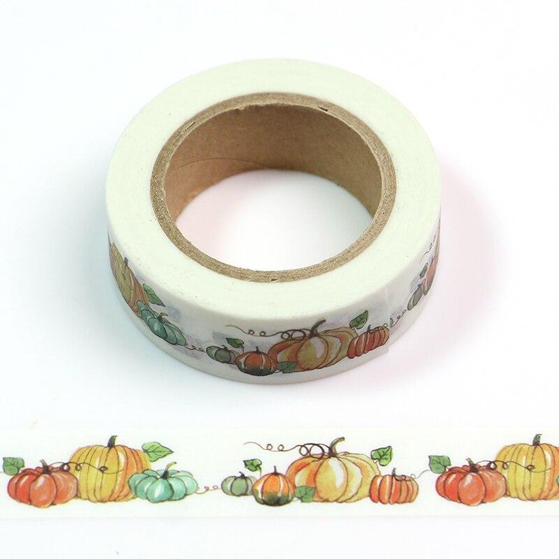 1PC 1.5cm*10m Kawaii Halloween Pumpkin Washi Tape Japanese Stationery Scrapbooking Tools Masking Tape Adhesiva Decorativa