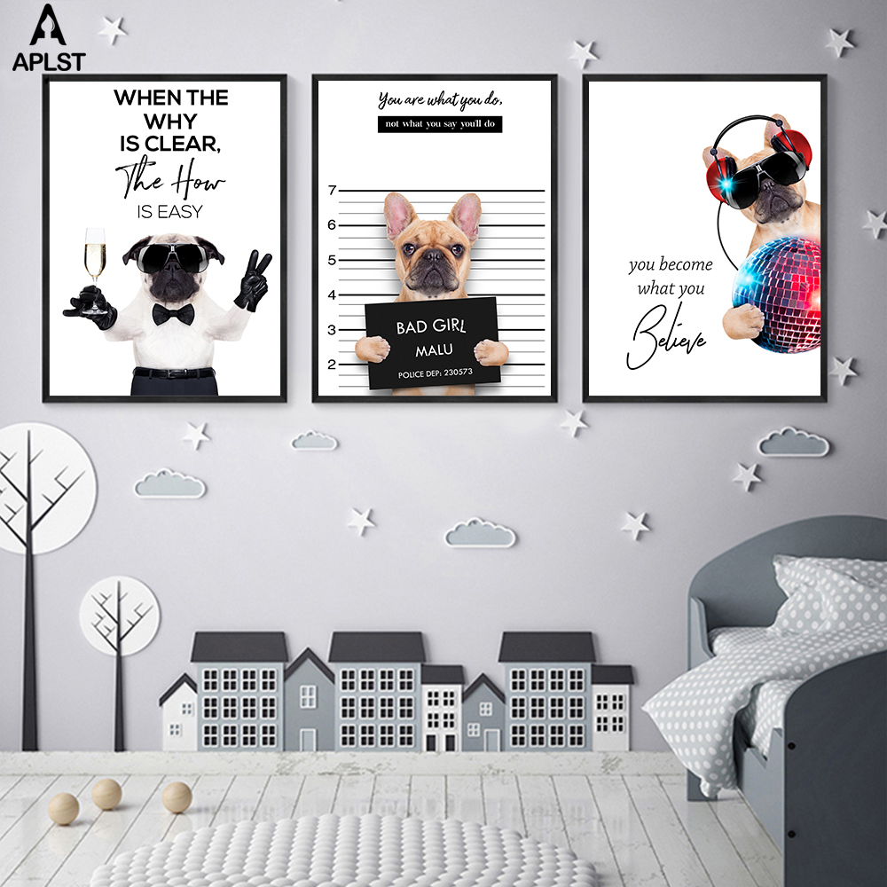 8x12 FT Pug Vinyl Photography Backdrop,Happy Dog Listening Music Enjoy Every Moment Quote Funny Image Pet Animal Fun Background for Baby Birthday Party Wedding Graduation Home Decoration