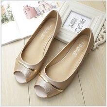Повседневная peep toe женщины плоские туфли летние черные туфли скольжения на женские лодка обувь Плюс размер 33-43