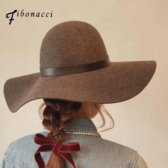 Fibonacci High Quality Women Wool Felt Fedora Hat 10cm Big Brim Brown  Elegant Dome Fedora 37a63983e04