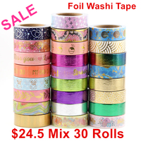Sale price Randomly mix 30 rolls lot(set/kit) Top quality foil washi tape masking Japanese Washi foil tape 15mm*10m Top quality