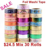 Sale price Randomly mix 30 rolls lot(set/kit) Top quality foil washi tape masking Japanese Washi foil tape 15mm*10m Top quality