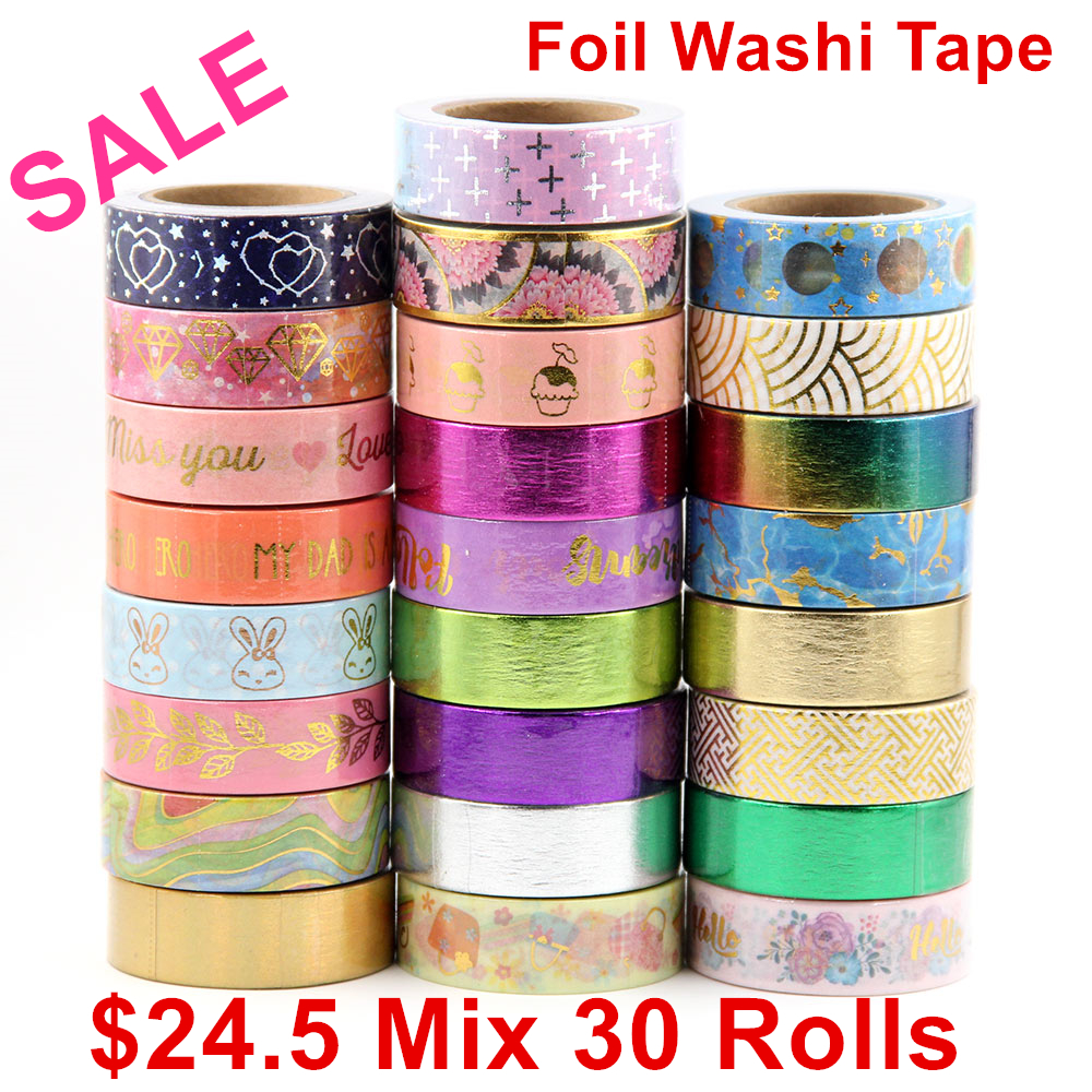 Sale price Randomly mix 30 rolls lot(set/kit) Top quality foil washi tape masking Japanese Washi foil tape 15mm*10m Top quality new 2x christmas golden foil washi paper tape pink background golden washi tape 15mm 10m