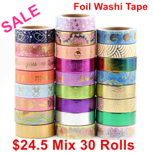 Sale price Randomly mix 30 rolls lot(set/kit) Top quality foil washi tape masking Japanese Washi 15mm*10m