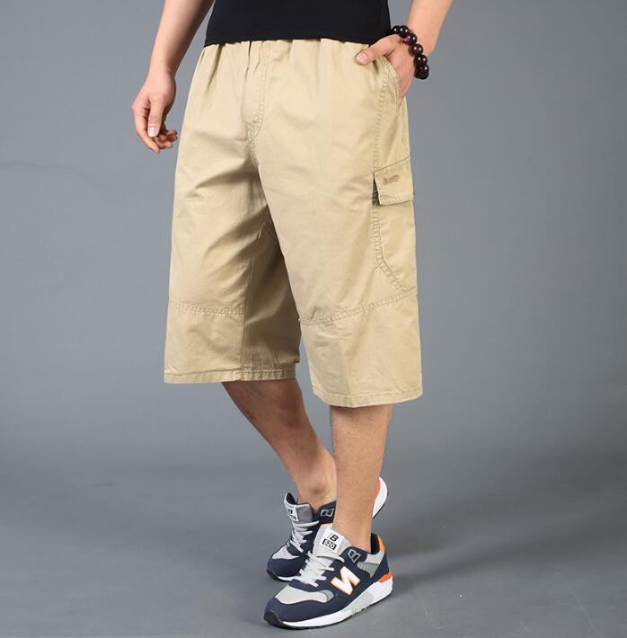 Summer short masculino capris quinquagenarian cotton trousers high waist plus size loose casual shorts men high waist khaki