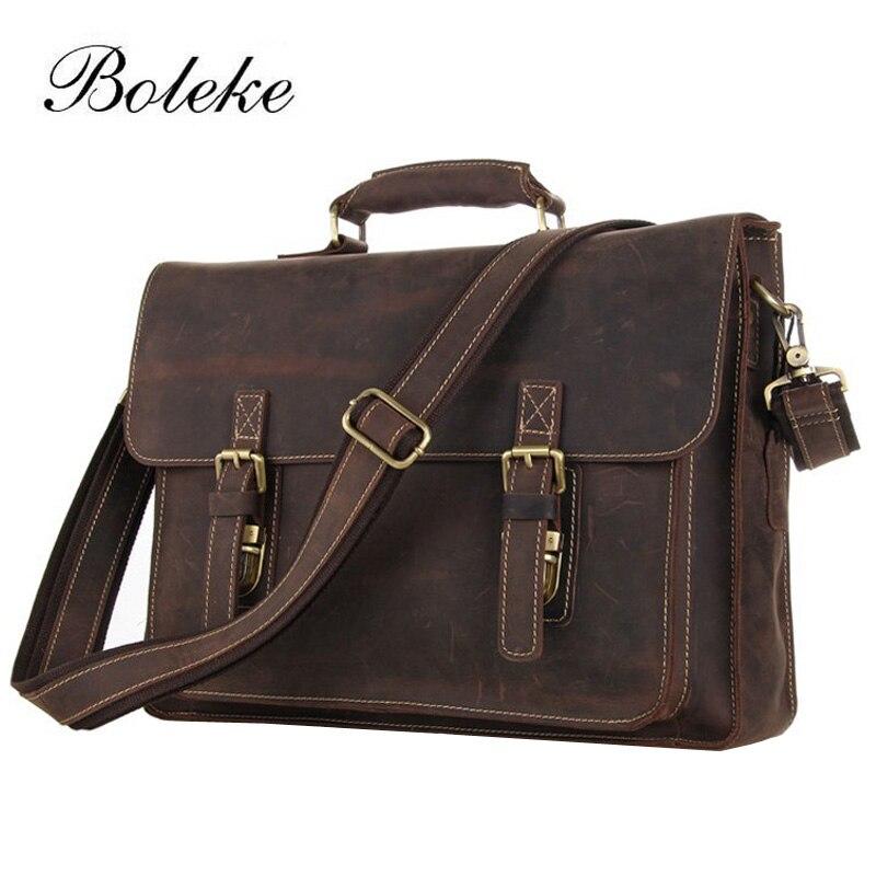 Men Crazy Horse Genuine Leather Briefcase Portfolio 15.6 inch laptop Messenger Shoulder Bag Vintage Handbag Crossbody Bag N098
