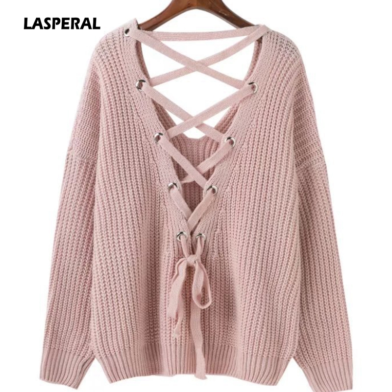 2017 Bandage Winter Sweater Women Deep V-neck Backless Female Knitted Sweater Hollow Out Christmas Sweater Pullover Women