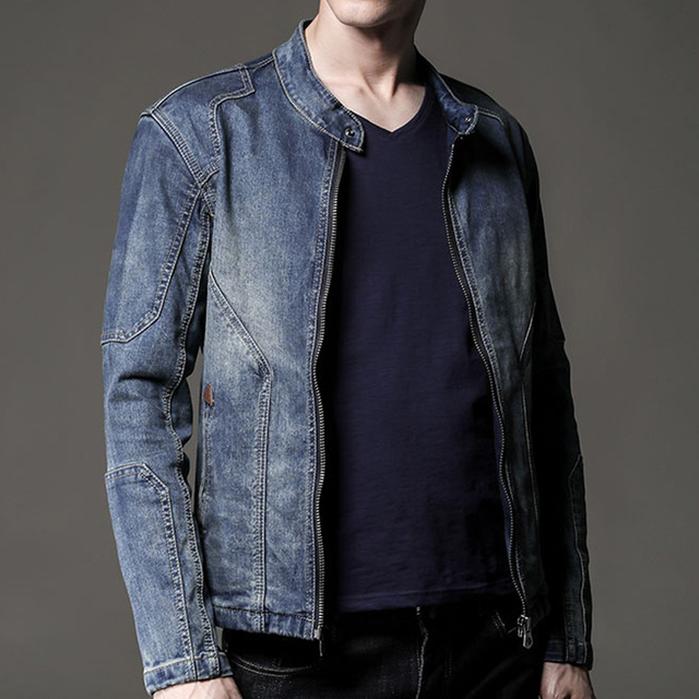 2d15fa69e7f Fall Spring Cool Mens Slim Fit Mandarin Collar Cardigan Jeans Jacket ...