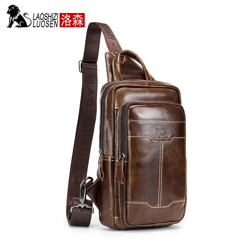 LAOSHIZI LUOSEN Genuine Leather Chest Bag for Men Messenger Bags Vintage Crossbody Sling Bag Man Shoulder Bag Small Chest Pack joyir genuine leather chest bag for men crossbody chest pack solid flap leather bags mens shoulder bags small messenger bag new