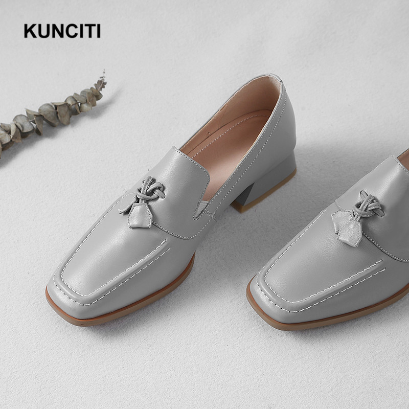 2019 Women Shoes Genuine Leather Square Toe Ladies All Match Slip On Mules New Designer Leather