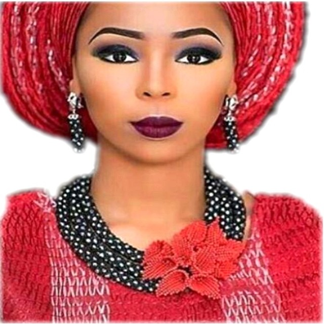 4UJewelry Jewelry Sets For Brides Wedding Black & Sliver African Big Jewellery Set With Red Flowers Nigerian Beads For Brides