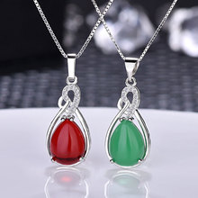купить Natural Chalcedony Pendant Necklace for Women Lady Silver Necklace Green Carnelian Pendant Simple Fashion Jewelry дешево