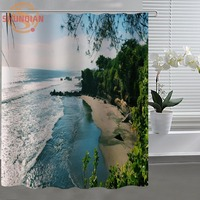 Bali Island Shower Curtain Eco-friendly Modern Fabric polyester Custom Shower curtain Home Decor H331J59CL