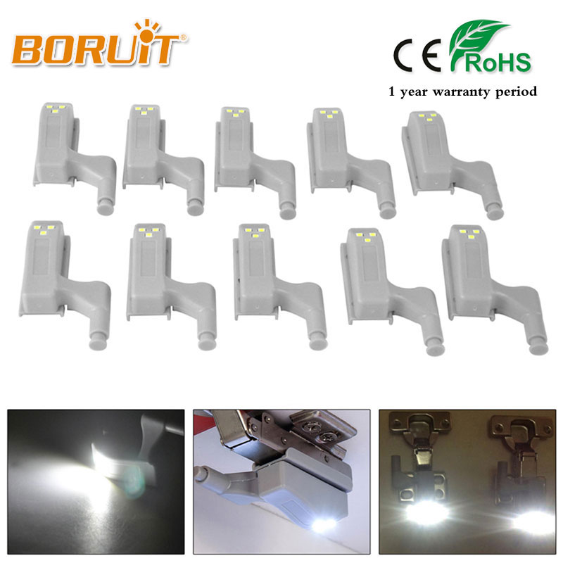 BORUIT 10Pcs 0.25W Inner Hinge LED Sensor Light For Kitchen Bedroom Living room Cabinet Cupboard Closet Wardrobe Night Lights fixed full overlay sus304 stainless steel damping hinge for kitchen bedroom living room cupboard door