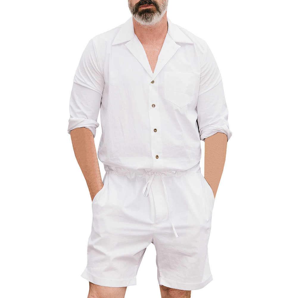 Оптовая продажа, Повседневная рубашка с длинными рукавами, шорты с завязками, комбинезон, мужской однотонный комбинезон