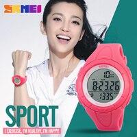 SKMEI Pedometre Spor Saatler Kadınlar Sağlık Chronograph LED Dijital Bilek İzle Bayanlar Su Geçirmez Kol Kronometre 1108