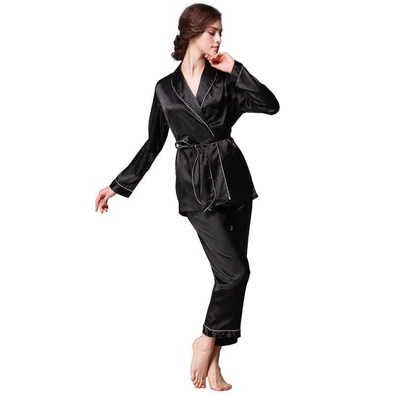 0441fdc93c Tony Candice Women Silk Pajamas 2-Peice Set Satin Silk Pijama Ladies  Sleepwear Soft Pyjamas Suit