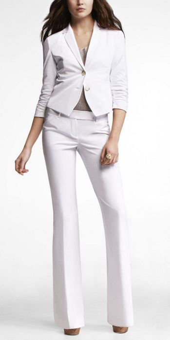 2 Piece White Set Custom Made Women Business Office Pants Suit Ladies Long Sleeve Jacket Evening Outfit W211