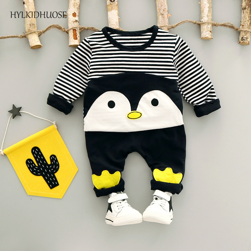 HYLKIDHUOSE 2017 Autumn Children Clothes Sets Baby Girls Boys Suits Infant Stripe Penguin T Shirt+Pants Cotton Infant Kids Suits malayu baby kids clothing sets baby boys girls cartoon elephant cotton set autumn children clothes child t shirt pants suit