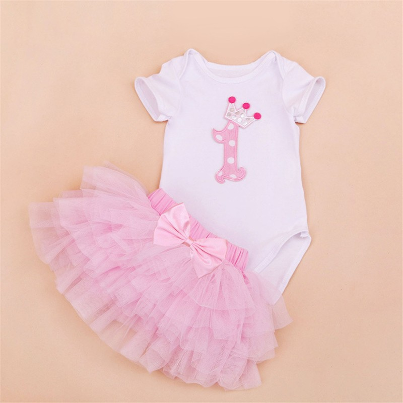 Tutu Baby Birthday Set Summer Short Sleeve Roupas Infantis Bebes 1st Birthday Outfit+Tutu Pettiskirt Dress Party Clothing Sets 5