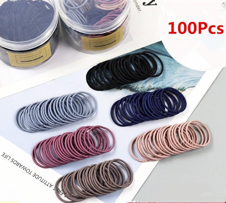 100 шт./лот 3,5 см милые девушки хвост держатель волос аксессуары для волос тонкой эластичной резинкой для детей Цветные волосы связей