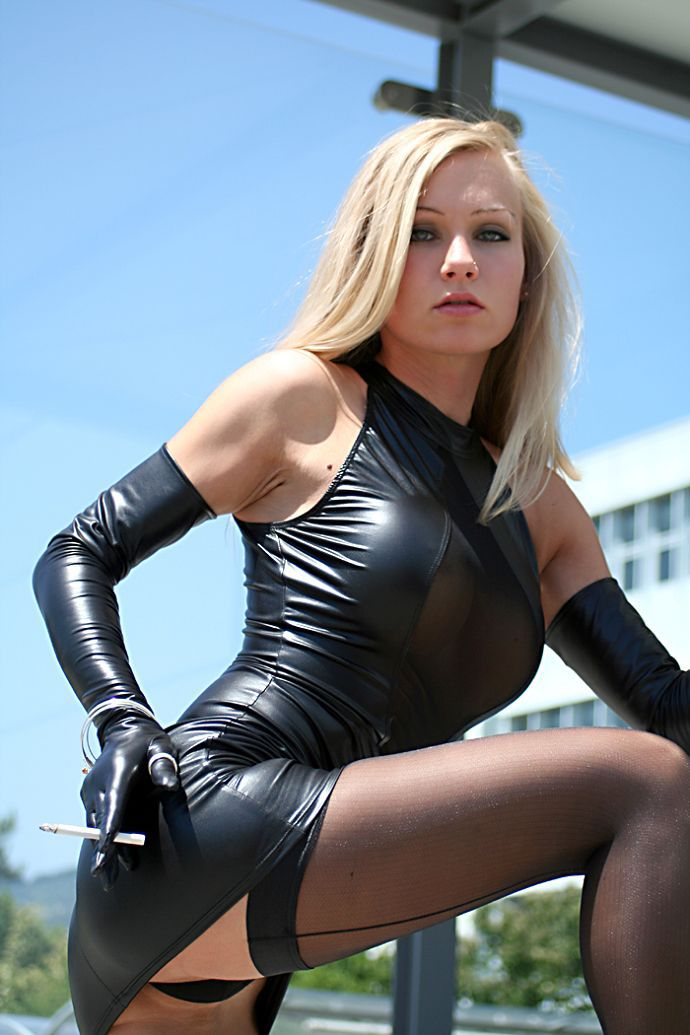 Promotion Women Faux Leather Catsuit Lingerie Black Pu -5825