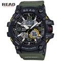 Read marca top 2017 esportes novos dos homens baratos relógios dupla afixação masculino relógio calendário alarme rodada pulseira de resina